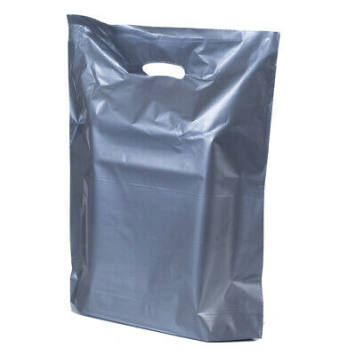 Strong Silver Plastic Shopping Carrier Bags Retail Plastic Shopping Carrier Bags