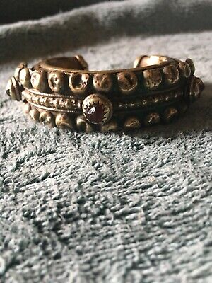Antique Cuff Bracelet With Glass Stones