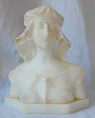 Antique Carved Alabaster Bust Young Woman In Hat 1900's Victorian Unsigned