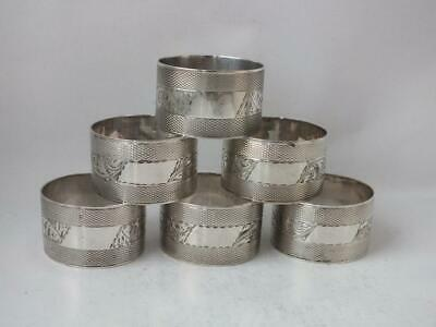 Matching Set of 6 Decorative Solid Sterling Silver Napkin Rings/ H 2.5 cm/ 159g