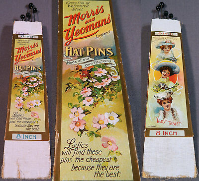 Edwardian Vintage Morris and Yeoman's Hat Pins Original Package Advertising Card