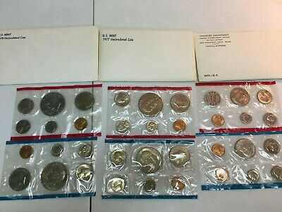 1971, 1977, 1978 US Mint Uncirculated coin Sets. 3 sets total