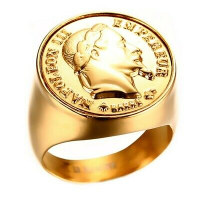 Signet Ring NAPOLEON Coin 20 Francs Head Steel Gold Plated Massive Round - New M