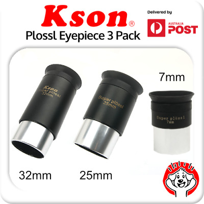 """Kson 1.25"""" 32mm, 25mm, 7mm Fully Multi-Coated Super Plossl Pack with Twist Cases"""