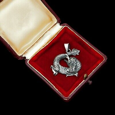 """Antique Vintage Art Deco Sterling Silver Chinese Dragon 1.4"""" Necklace Pendant"""