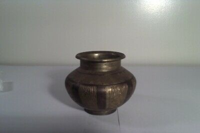 Vintage Antique Brass Copper Holy Water , Vase Hindu  Buddha Pot Vase Folk Art