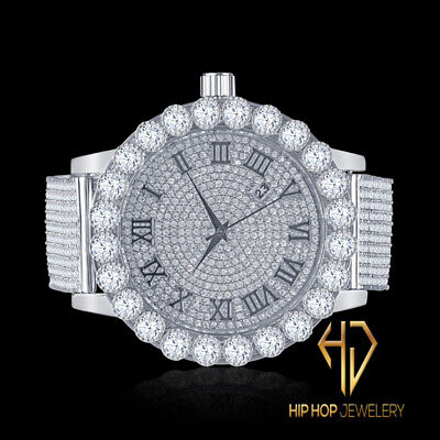 Stainless Steel White Gold Tone Roman Dial Simulated Diamond IceHouse Men Watch