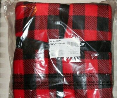 "Buffalo Check Sherpa Throw Blanket Red/Black White New Packaged 60""x40"""