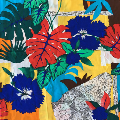 80's Vintage MONSTERA tropical print rayon extra wide fabric 2.7m