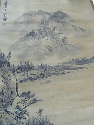 Antique Chinese hand Drawn Water Colour Landscape Scroll Signed Chop Mark China