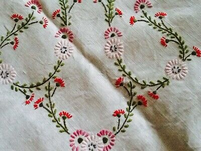 """Beautiful Vintage Hand Embroidered Linen Tablecloth Pink Flowers 50"""" Square"""
