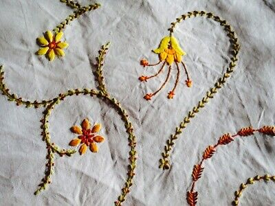 """Gorgeous Vintage Linen Hand Embroidered Stylised Floral Tablecloth 50"""" X 48"""""""