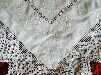 """Lovely Vintage Linen Whitework Embroidery Crochet Edge Tablecloth 40"""" Square"""
