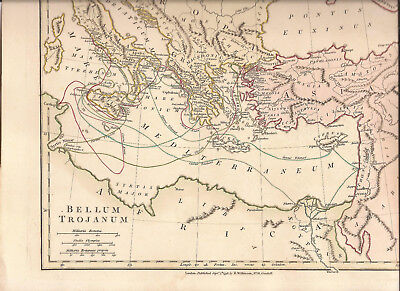 Trojan War Map Italy Greece Turkey Mediterraneum  Wilkinson 1798