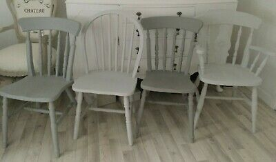 Farmhouse Kitchen Dining Chairs Grey Painted Vintage Shabby Chic Country Chairs 65 00 Picclick Uk
