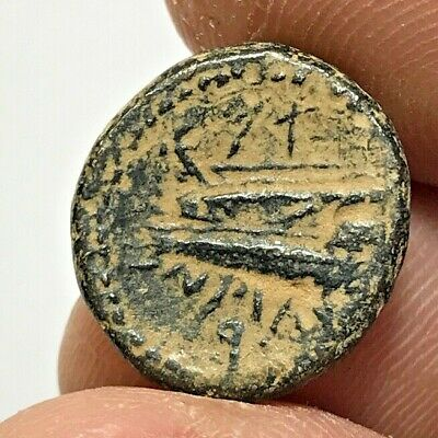ANCIENT GREEK BRONZE COIN ISLAND DOUBLE HEAD UNCERTAIN 3.7gr  17.4mm