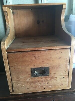 Small Pitch Pine Shelf Cabinet Drawer Filing Antique Vintage