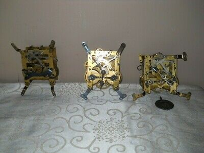 Three Clock Movements Mantle Clock Spares Or Repairs.