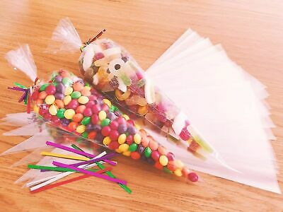 Candy Sweet Clear Cellophane Cone Bags & Ties Party Wedding Birthday Gift Kids