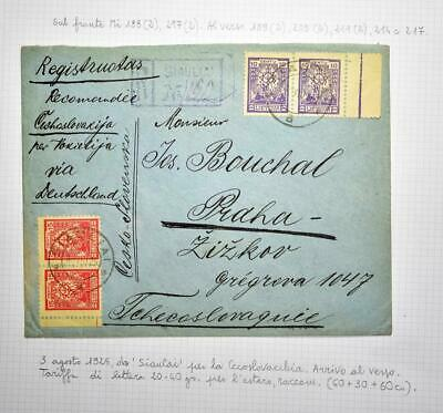 LITHUANIA to Czech 1925 UNUSUAL Franked Reg Cover + Label SIAULIAI to...,Lietuva