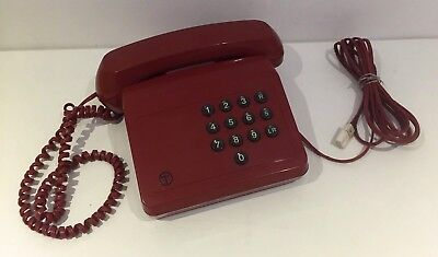 Vintg Red Tribune Home Telephone Phone Bt British Telecom Push Button Tested G84