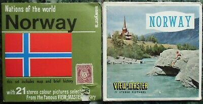 3 View-Master 3D Bildscheiben - Nations Of The World | Norway + Booklet