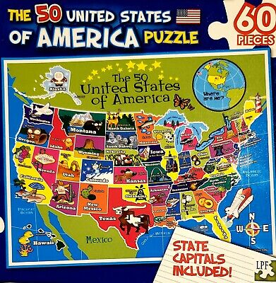 America Map 50 States.50 Usa United States Of America Map Puzzle W State Capitals 60 Pc