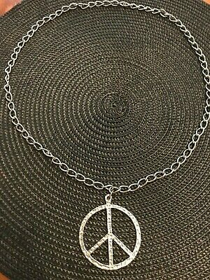 """Vintage Hippie Large Peace Sign Textured Metal 28"""" Pendant Necklace~thick chain"""