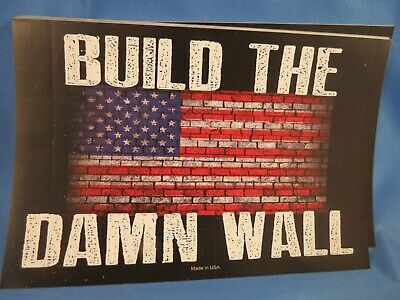 Wholesale Lot Of 10 Trump Build The Damn Wall 2020  Sticker Usa Flag President
