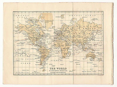 World Map Illustrating Dampier's 1679-91 Voyage 1880