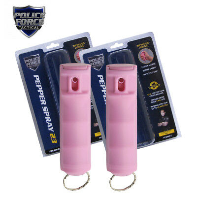 (2 Pack) Police Force 23 Pepper Spray Mace 1/2oz Flip Top Molded KeyChain - PINK