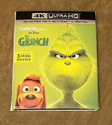 2018 Dr Seuss The Grinch 4K Ultra HD + Blu-ray + Digital NEW sealed + slipcover