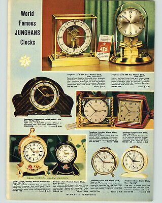 1954 PAPER AD Junghans 1000 Day Mantel Clock aTo Heco Black Forest Cuckoo Clock