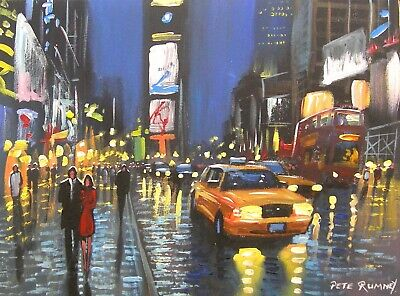 Pete Rumney Art Original Canvas Painting New York Times Square Yellow Taxi Cabs