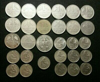 Germany Vintage Coin Lot Pre Euro Total Face Value 23 Deutsch Marks Great Coins