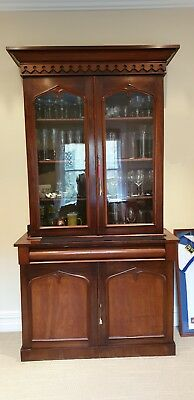 Original antique early Victorian era two door walnut display bookcase