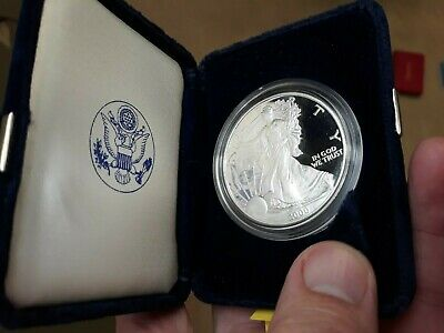 Proof 2000 Silver American Eagle In Velvet Case With Coa One Ounce Proof Silver