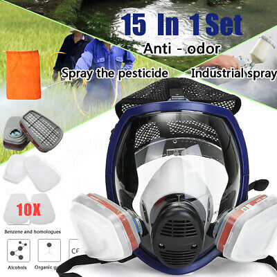 Sjl Full Face 6800 7 Piece Gas Mask Pesticides Facepiece Respirator Painting Spraying 6001 Filter Cartridge Chemical Medicine Factories And Mines Festive & Party Supplies Party Masks