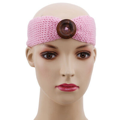 Baby Toddler Kids Girls Crochet Knit Button Warm Winter Headband Hair Band YO