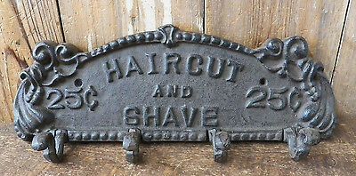 "Cast Iron 13"" x 4.5"" SHAVE AND HAIRCUT Coat Hook Rack Key Holder Plaque Hanger"