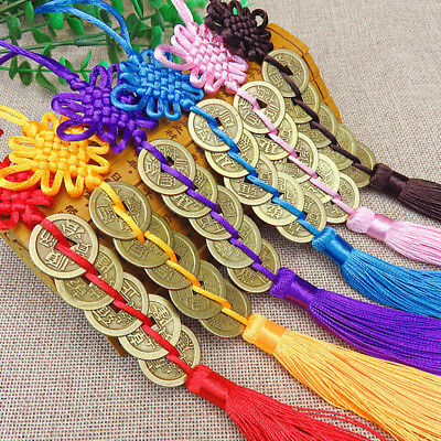 Feng Shui Mystic Chinese Lucky Coins Rope Knot Cures Career Health Wealth YO