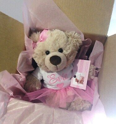 Personalised Teddy Bear 26cm Baby Gift  Birthday  Ballet TuTu  Pink Any Name