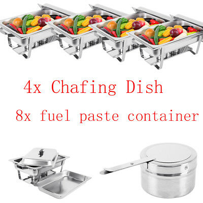 9L/Set Bain Maries Bow Chafing Dish Stainless Steel Food Buffet Warmer Stackable