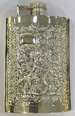 Sterling Silver 925 Hip Flask Floral Design Personalisable Engraving Gift 8oz