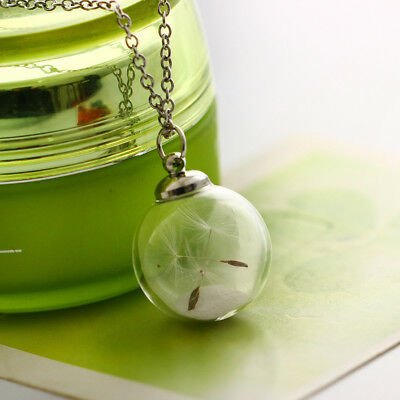 New Dandelion Glass Globe Pendant Necklace Glow in the Dark Luminous Chain BS