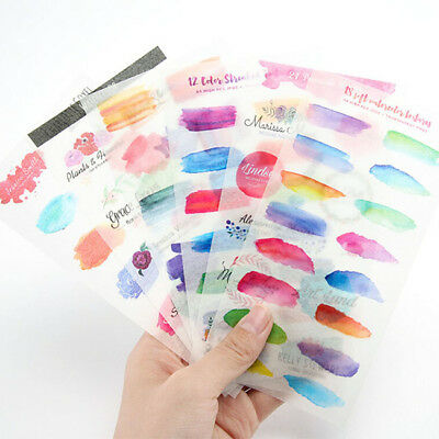 6 Sheet Colorful Watercolor Planner Stickers Diary Memo Journal  Decoration JD