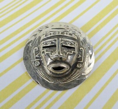 Vintage sterling silver Mexican Aztec tribal face pendant brooch