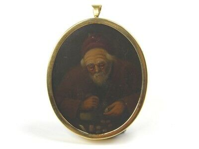 Antique 19th century portrait miniature oil painting gentleman counting money