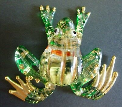 Glittered Glass Frog Beautiful Green & Gold Painted Glass Animal Ornament Gift