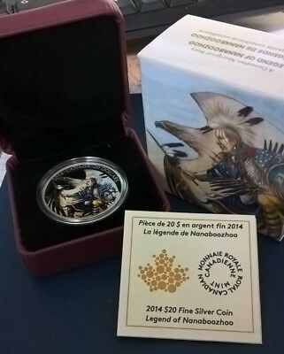 2014 Canada Legend Of Nanaboozhoo Silver Painted $20 Dollar In Ogp Nice!